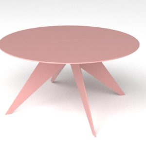 large round steel pink coffee table with four legs